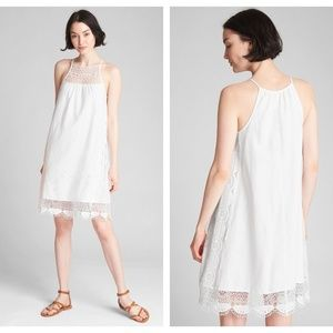 Gap White Crochet Lace Cami Linen Dress